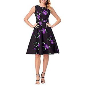 Fit and Flare Floral Dress Black Purple 2X